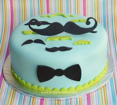 Mustache Cake but with girly colors