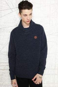 Fred Perry Mens Blue Tweed Style Shawl Neck Jumper