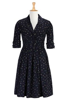 Nautical Anchor Print Dresses, Retro Shirtdresses Womens designer dresses - Cocktail Dresses, Cocktail Dress, Cocktails Dress, Dress for a C...