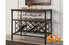Rustic wood finish paired with weatherworn-style metal offers a dual serving of vintage charm that's as fresh as ever. Catering to the wine lover, Rolena dining room server includes a generous undermount wine bottle rack and wine glass hangers for easy bartending.
