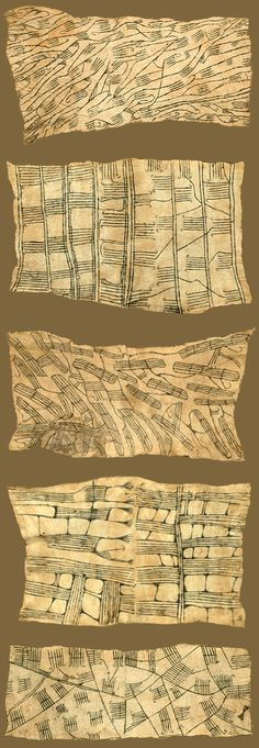 Africa   Bark cloth painting by the M'bute Pygmy people living in the Ituri Rain Forest of the Congo   Predominantly from the 1930s   The fabric is a pounded tree bark; the painting was done supposedly with a mixture of gardenia juice and carbon black.