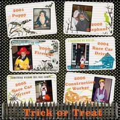 Cute idea... scrapbook layout of child's Halloween costume each year.