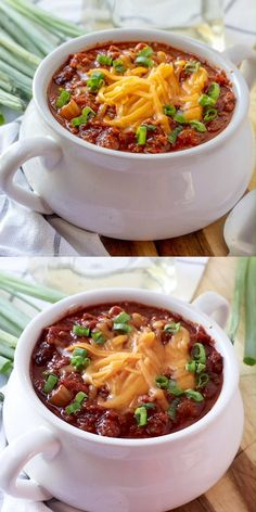 Chili - Like Wendy's is perfect for those cooler nights! Thick, hearty and full of ground beef, beans and tomatoes! It really hits the spot! My absolute favorite meal is Chili . Ground Beef Recipes Easy, Healthy Crockpot Recipes, Lunch Recipes, Vegetarian Recipes, Dinner Recipes, Cooking Recipes, Vegetable Soup Recipes, Chicken Soup Recipes, Shrimp Recipes