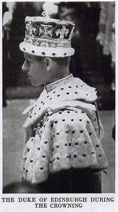 The Duke of Edinburgh in his ducal coronet during Queen Elizabeth's Coronation