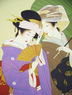 Uemura Shouen (1875-1949) Traditional Japanese Art, Japanese Modern, Japanese Geisha, Japanese Prints, Japanese Culture, Japan Illustration, Geisha Art, Japan Painting, Bonsai Art