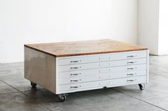 Flat File Coffee Table Refinished in High Gloss White with Reclaimed Wood