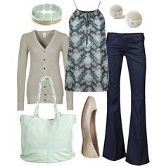 Casual Outfit pale celadon green stone off-white navy bracelet bag gathered sleeveless top cardigan jeans flats