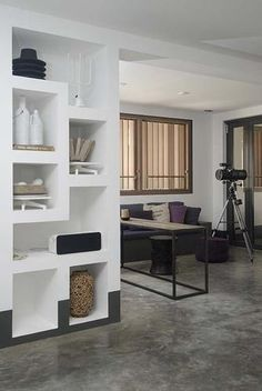 Maillot de bain : built in shelves on wall by refrigerator, only 2 meters tall or as tall as standard refrigerator Built In Shelves, Built Ins, Luxury Interior, Interior Architecture, Living Room Interior, Interior Design Inspiration, Home And Living, Modern Decor, Shelving