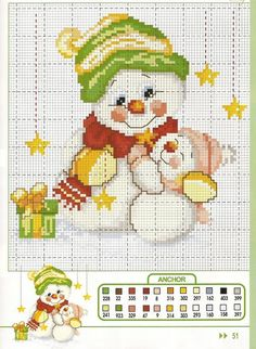 Cross Stitch Snowman:  Site is called: Sandrinha Ponto Cruz: Natal