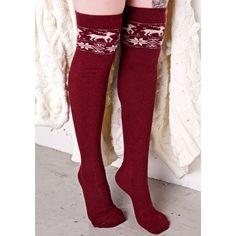 Red Reindeer Knee Socks (€14) ❤ liked on Polyvore featuring intimates, hosiery, socks, red knee socks, ana accessories, red socks, knee hi socks and long knee socks