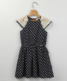 Loving this Navy Polka Dot Lace Cap-Sleeve Dress - Girls on #zulily! #zulilyfinds