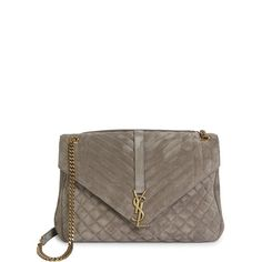 Saint Laurent Women's Monogram Large Quilted Suede Shoulder Bag ($2,550) ❤ liked on Polyvore featuring bags, handbags, shoulder bags, fog, handbags - ysl handbags, man shoulder bag, monogrammed purses, quilted purses, quilted chain shoulder bag and hand bags