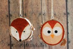 Rustic-woodland-ornaments-fox-owl.jpg (640×427)