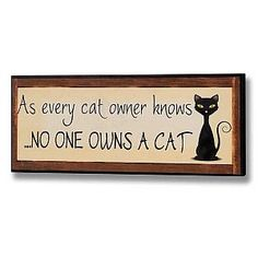 As Every Cat Owner Knows, No One Owns a Cat Sign / Wall Plaque: Amazon.co.uk: Kitchen & Home