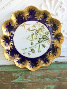 Antique-Aynsley-Porcelain-Cabinet-Plate-Colbalt-Handpainted-Trumpet-Flowers