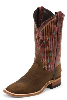 Justin Women's Brown Bent Rail Boots with Brown Pattern Top - HeadWest Outfitters