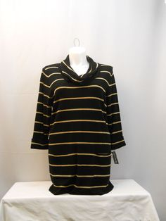 Size 2X INC Sweater Black Gold Striped Cowl Neck 3/4Sleeves Knit Pullover Tunic #INCInternationalConcepts #CowlNeck
