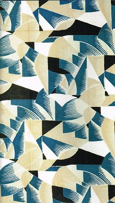Pierre Chareau textile in block-printed linen in 'Essential Art Deco' by Ghislaine Wood