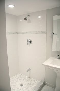 white subway tile with gray accent