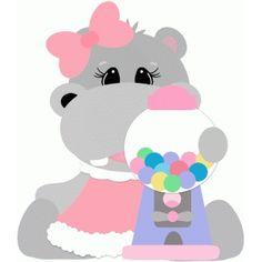 Silhouette Design Store: hippo with gum ball machine