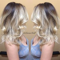 (No filter) Dark brown base with light beige blonde ombré with balayaged highlites. Haircut & beachy waves. #hairbylarisalove