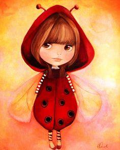 Blythe in ladybug outfit children's decor mini print claudia tremblay Illustration Mignonne, Art Et Illustration, Claudia Tremblay, Ladybug Girl, Art Fantaisiste, Mode Poster, Art Mignon, Whimsical Art, Cute Drawings