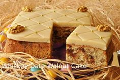 Whiskey Date Walnut Cake recipe - A lovely and delicious marzipan covered cake for Easter or anytime, full of walnuts, dates, spices, and flavored with whiskey. Baking Recipes, Cake Recipes, Dessert Recipes, Date And Walnut Cake, Mousse, Cake Cover, Holiday Cakes, Cake Plates, Coffee Cake