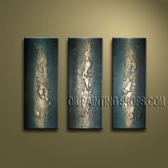 Amazing Modern Textured Painted Wall Art Hand Painted Oil Painting Stretched Ready To Hang Abstract. This 3 panels canvas wall art is hand painted by Bo Yi Art Studio, instock - $135. To see more, visit OilPaintingShops.com