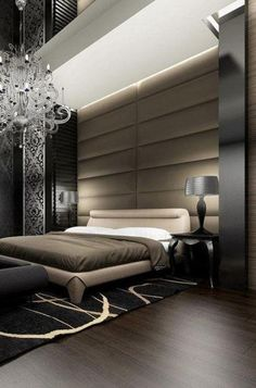 Luxurious Masculine Bedroom for Mens Black and Brown Theme