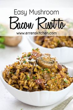 Easy Mushroom & Bacon Risotto - Erren's Kitchen A truly easy weeknight dinner, this rice dish is a simple risotto that you'll make again and again. The best part is - it's ready in just 30 minutes! Bacon And Mushroom Risotto, Bacon Stuffed Mushrooms, Risotto Recipes, Kitchen Recipes, Cooking Recipes, Healthy Recipes, Delicious Recipes, Easy Recipes, Risotto