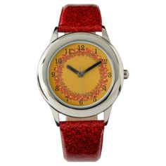 Child clock orange Fire Watch - red gifts color style cyo diy personalize unique