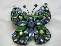 Vintage Signed Regency Blue & Green Colored Rhinestone Butterfly Pin/Broach #Regency