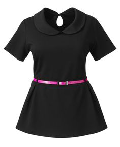 This is super adorable! A peter pan collar with an hourglass cut, Belted Replum top. Plus sized up to a size 28w. This comes in the Pink and Black you see OR a red and black. Price is a tiny bit steep at $60, but I'm a fan already!