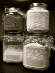 """I had this idea nearly a year ago. I got the jars and supplies and did flour and sugar jars. I don't know why I gave up after the first two. They're not hard to do. I probably was mad about having to shorten """"Powdered"""" to """"Powd"""" so I boycotted instead of compromising.  I went on a super-cleaning and organizing spree over the weekend, which inspired me to put the supplies away that had been sitting in the pantry for months taking up space. I refused to put them"""