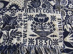ANTIQUE VINTAGE 1850 COVERLET NEW CASTLE INDIANA HENRY Co INDIGO BLUE FLOWER