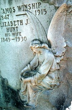 Angel.  East Hill Cemetery.  Every spring, a bird builds a nest in her arms.