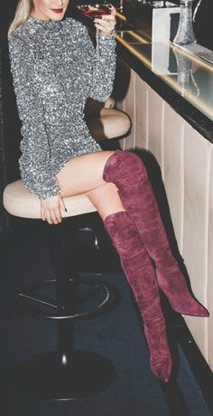 Burgundy over the knee boot + mini dress.