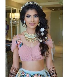 """""""Ethereal Princess Jasmine The look from this morning's Floral Fantasy Mehendi party at the poolside garden. Hair using just a few pieces of OMBRE…"""""""
