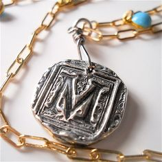 Mixed Metal Necklace Silver Initial by SilverInitialJewelry, $89.00