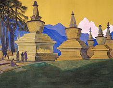 Suburgan of Tashiding, 1924 by Nicholas Roerich. Symbolism. landscape. Nicholas Roerich Museum, New York, USA