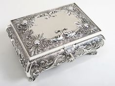 Silver Ornate Positano Rectangular Jewelry Box