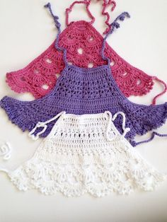 beach vacation clothes Crochet baby top Set of three tops Purple lace crop top Rose halter top White open back baby top Shower gift Beach vacation baby clothing Crochet Toddler, Baby Girl Crochet, Crochet Baby Clothes, Crochet For Kids, Crochet Halter Tops, Crochet Crop Top, Crochet Bikini, Girls Crop Tops, Lace Crop Tops