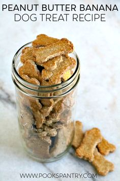 Homemade Peanut Butter Banana Dog Treats are super simple. Making homemade treats is easy, plus it is less expensive than store-bought Peanut Butter Banana Dog Treat Recipe, Homemade Peanut Butter, Homemade Dog Treats, Healthy Dog Treats, Healthy Food, Peanut Butter Dog Biscuits, Doggie Treats, Cat Treats, Dog Snacks