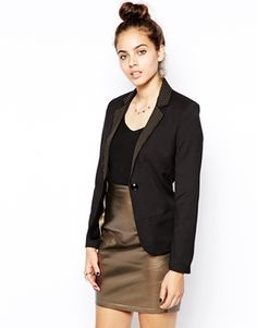 Black Sugarhill Boutique Becky Blazer With Contrast Lapels $80
