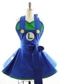 Retro Styled Womans Apron - PERSONALIZED Super Plumber Luigi Costume Apron - Kitchen, Hostess & Cosplay Aprons by BambinoAmore (US Sz. 2-14)