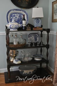 Positively Southern: Adding an Antique Tiered Server to the Dining Room Blue Dinning Room, Dining Room Server, Dining Rooms, Dining Area, Antique Booth Displays, Tiered Server, Antique Shelves, Bar Cart Decor, Southern Living