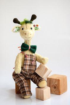 Artist teddy bear giraffe collectible OOAK bear by NeriAtelier
