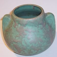vintage Brush McCoy ear handled pottery pot planter mottled