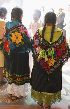 Mazahua Women Mexico by Teyacapan, via Flickr These are the traditionally accepted costumes or dresses of the various regions of Mexico from generations past up to currently - for more of Mexico visit www.mainlymexican... #Mexico #Mexican #women #fashion #costume #dress