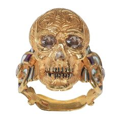 Enamel Ruby Diamond Gold Skull Ring, A Renaissance style Memento Mori skull ring made with champleve multicolored enamels, rose-cut diamonds and rubies. Contemporary, Italy. 1stdibs.com